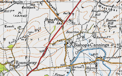 Old map of Bishops Cannings in 1940