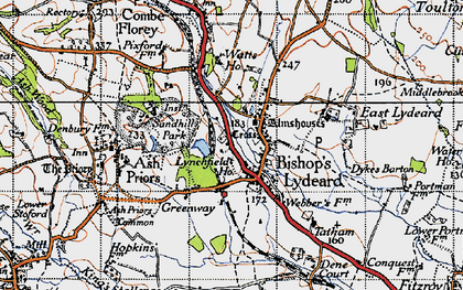 Old map of Bishops Lydeard in 1946