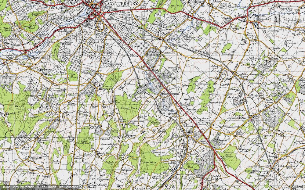 Old Map of Bishopsbourne, 1947 in 1947