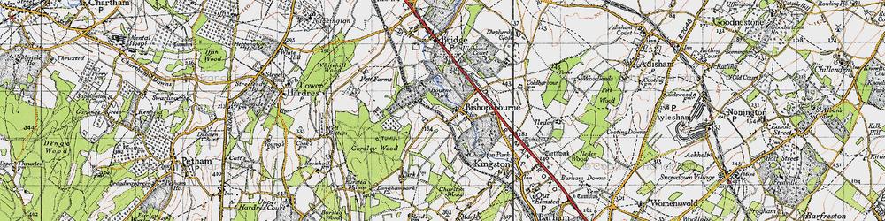 Old map of Bishopsbourne in 1947