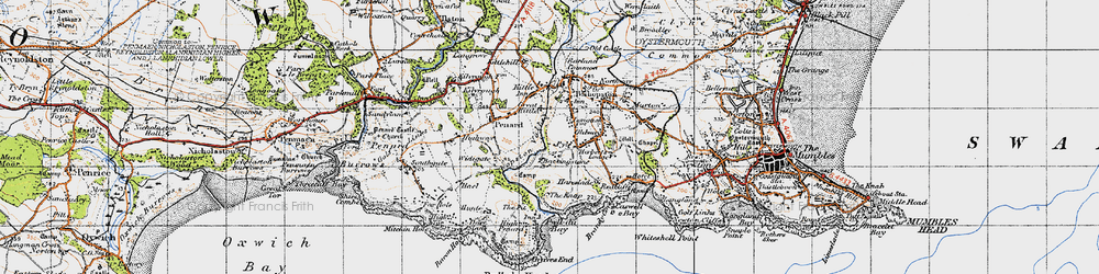 Old map of Bishopston in 1947