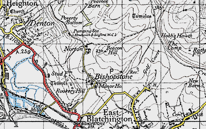 Old map of Bishopstone in 1940