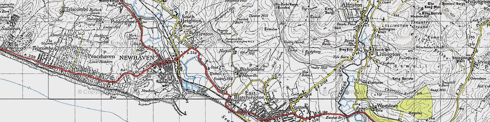 Old map of Tide Mills in 1940