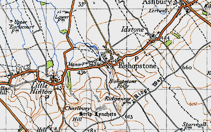 Old map of Bishopstone in 1947