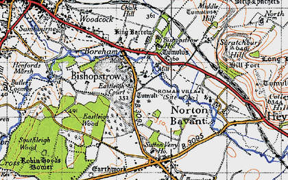 Old map of Bishopstrow in 1940