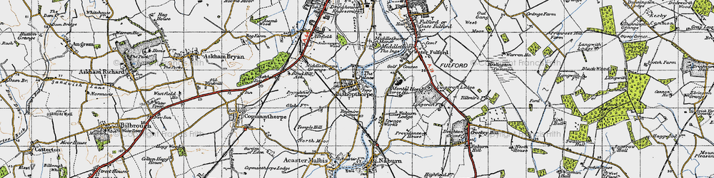 Old map of Acres Ho in 1947