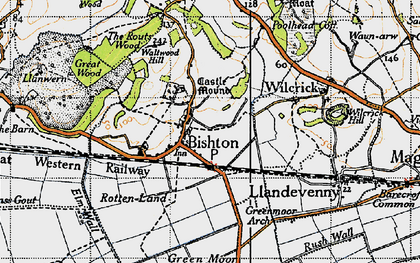 Old map of Bishton in 1946