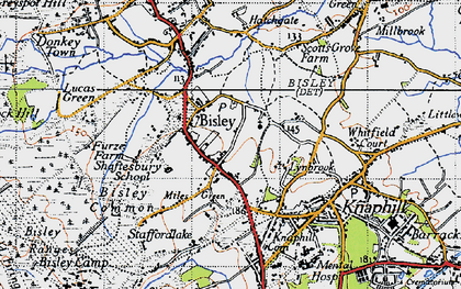Old map of Bisley in 1940