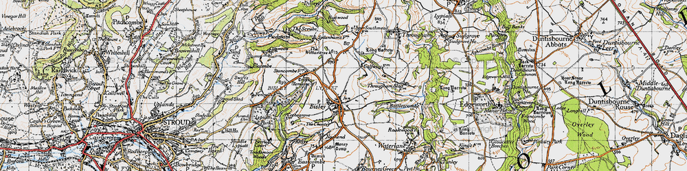 Old map of Bisley in 1946