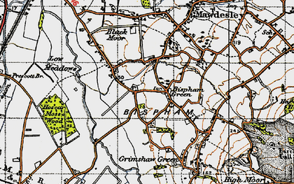 Old map of Bispham Green in 1947
