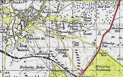 Old map of Wilverley Post in 1940