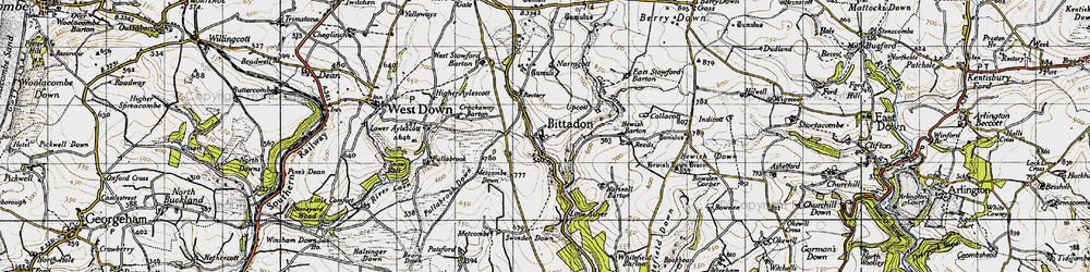 Old map of West Stowford Barton in 1946