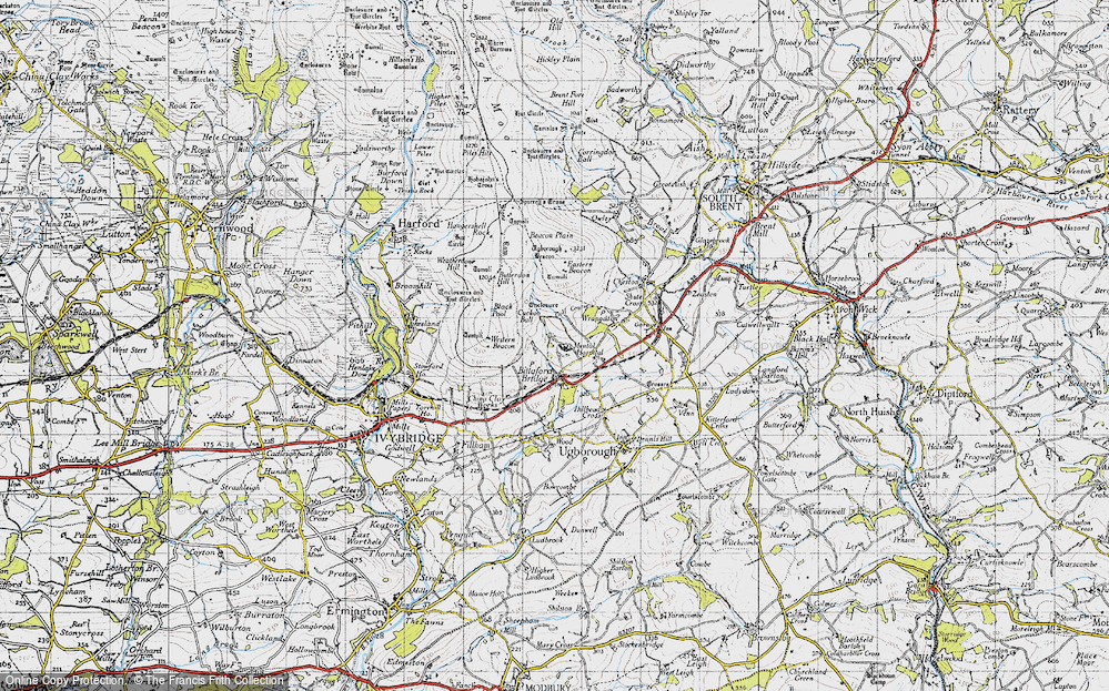 Old Map of Historic Map covering Western Beacon in 1946