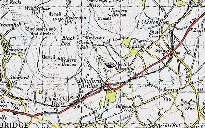 Old map of Western Beacon in 1946
