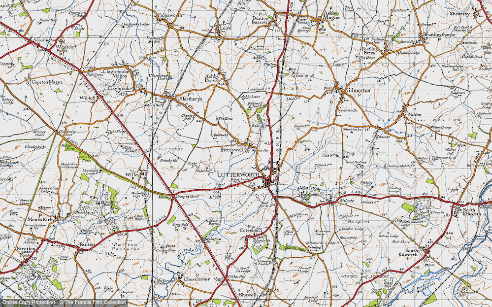 Old Map of Historic Map covering Wood Br in 1946