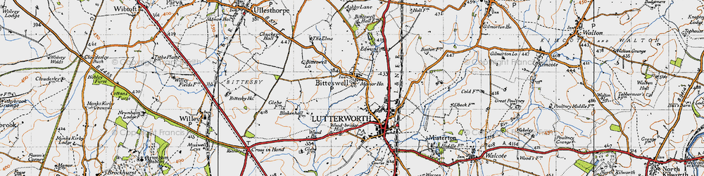 Old map of Wood Br in 1946