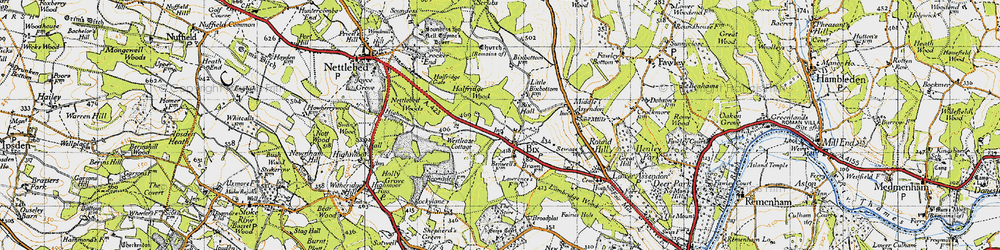 Old map of Bix in 1947