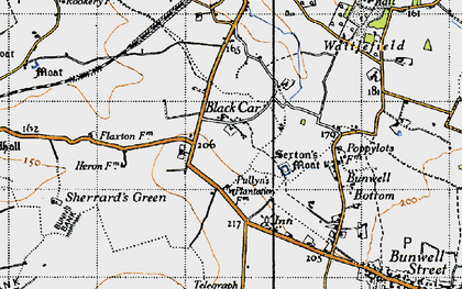 Old map of Black Carr in 1946