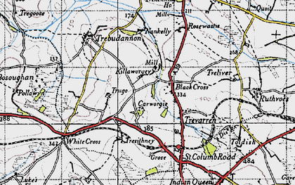 Old map of Black Cross in 1946