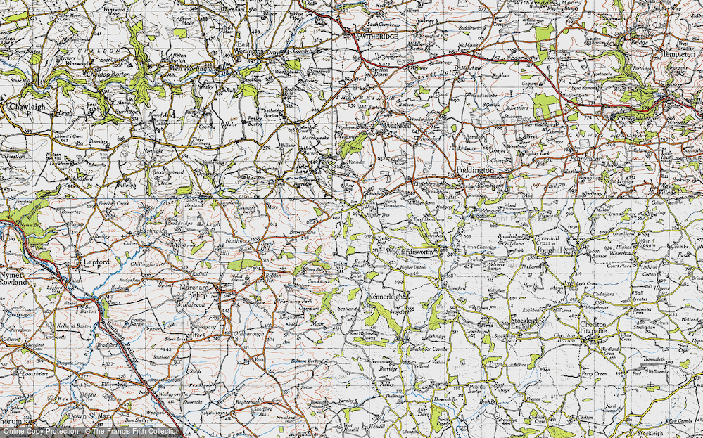 Old Map of Historic Map covering Wonham in 1946