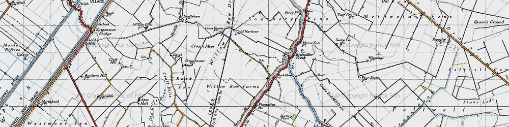 Old map of Willow Row Drain in 1946
