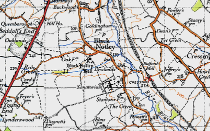 Old map of Black Notley in 1945