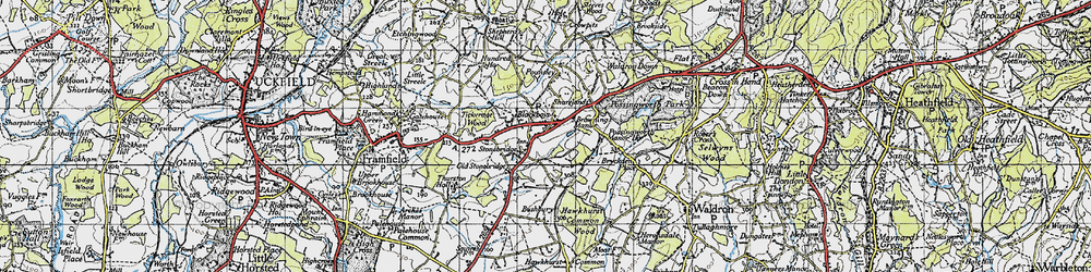 Old map of Tickerage Wood in 1940