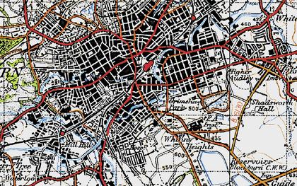 Old map of Blackburn in 1947