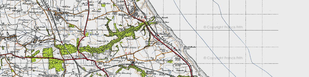 Old map of Blackhall Colliery in 1947