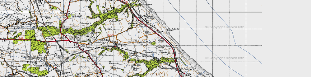 Old map of Blackhall Rocks in 1947