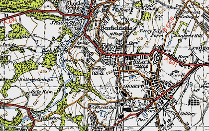 Old map of Blackhill in 1947