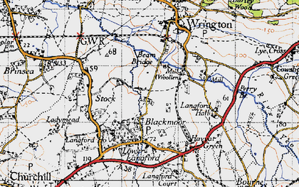 Old map of Blackmoor in 1946