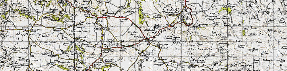 Old map of Wistlandpound in 1946