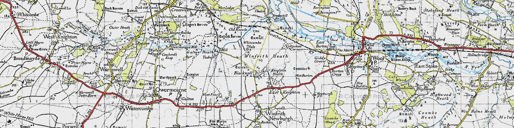 Old map of Whitcombe Vale in 1945