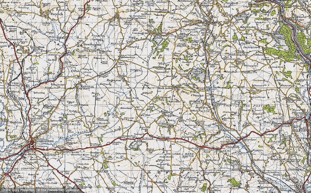 Old Map of Historic Map covering Sheep Hills in 1946