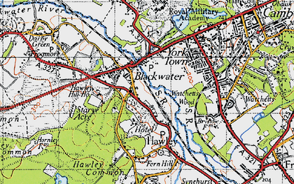 Old map of Blackwater in 1940