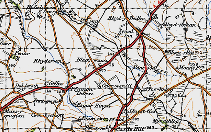 Old map of Afon Soden in 1947