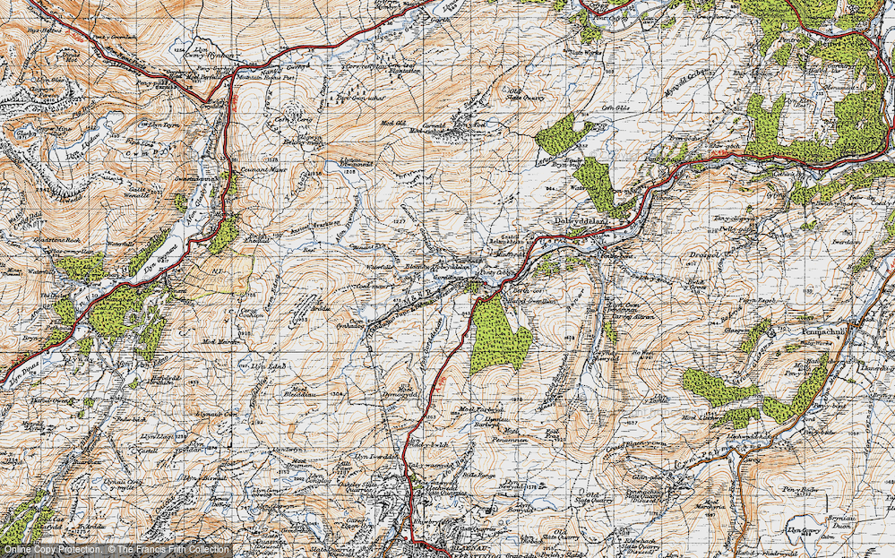 Old Map of Historic Map covering Afon Diwaunedd in 1947