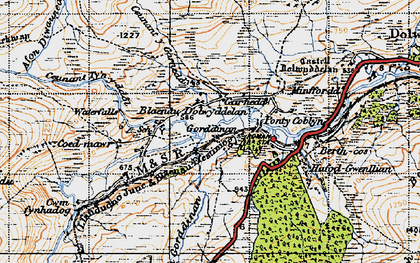 Old map of Afon Diwaunedd in 1947