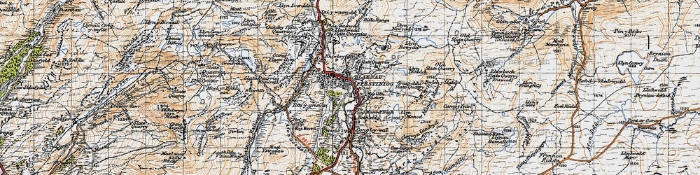 Old map of Blaenau Ffestiniog in 1947