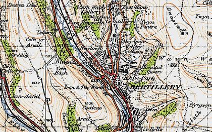 Old map of Blaenau-Gwent in 1947