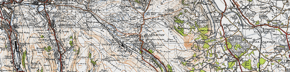 Old map of Blaenavon in 1947