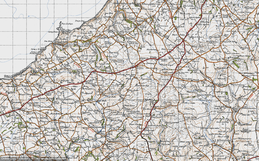 Old Map of Historic Map covering Afon Bedw in 1947