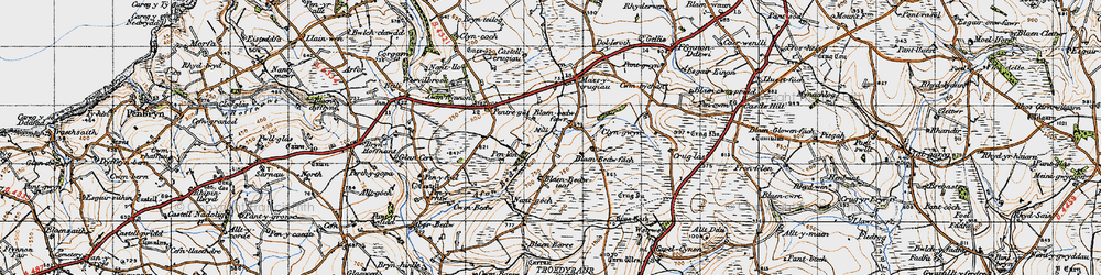 Old map of Afon Bedw in 1947