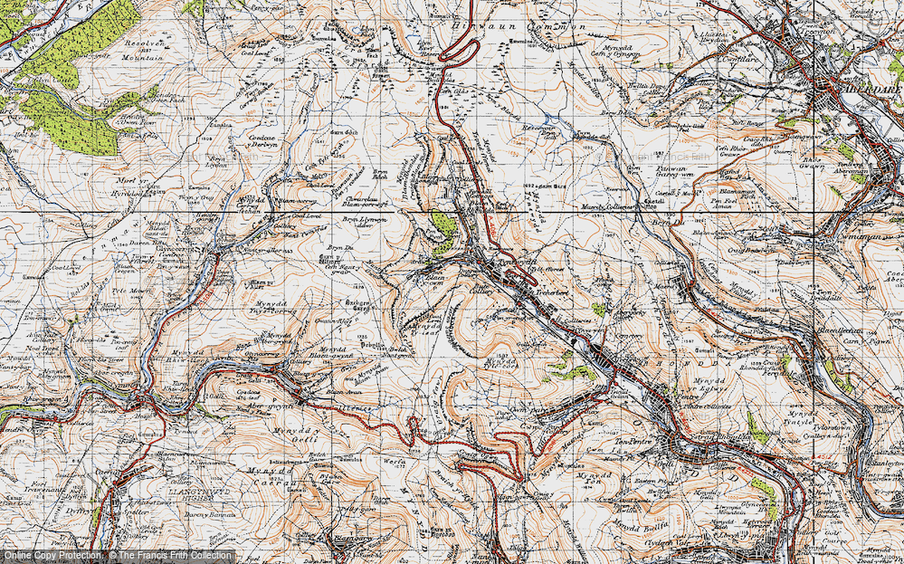 Old Map of Historic Map covering Bachgen Careg in 1947
