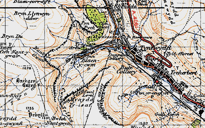 Old map of Bachgen Careg in 1947