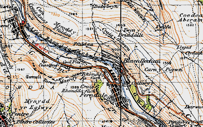 Old map of Blaenllechau in 1947
