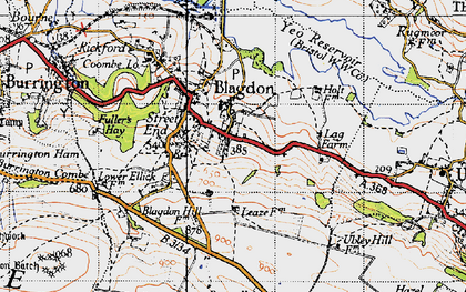 Old map of Blagdon in 1946