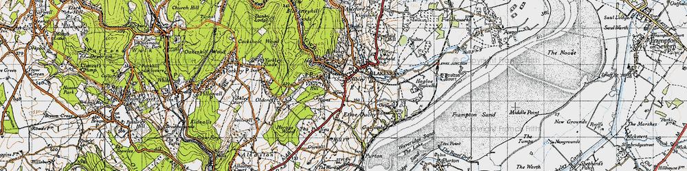 Old map of Blakeney in 1946