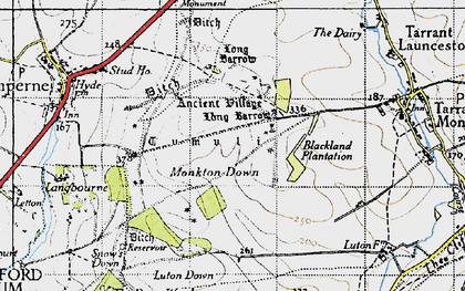Old map of Blandford Camp in 1940